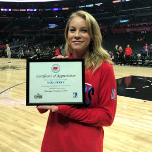 Sara Perez wins award at LA Clippers Game